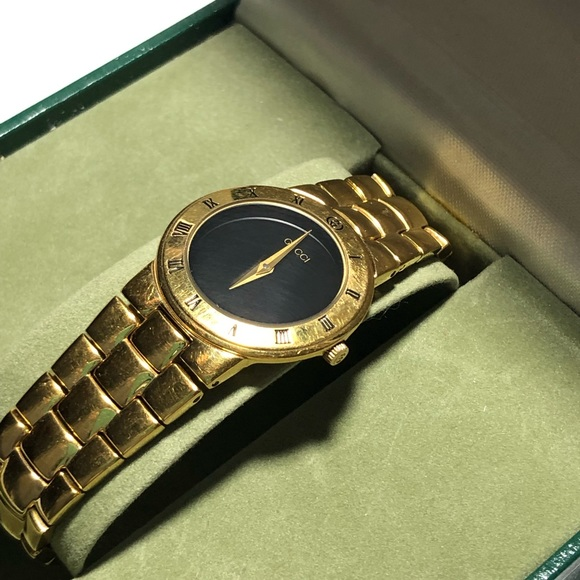 17ad03f38 Vintage 90s Gucci Watch Gold Plate Black Face 3300.  M_5c8f01a0aaa5b8205de89d79